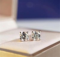 Luxury Wedding Engagement Jewelry Stud Earrings Silver Plate...