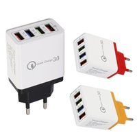 Hot Sale 4usb Wall Charger 3.1 A QC3. 0 Fast Charing For Mobile Phone Charging Colorful Shell For Selection