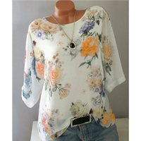 Fashion Women Blouses Floral Print Half Sleeve Summer Tops O...