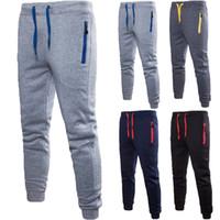 Pocket ile Casual Erkekler Fleece Çizgili Parça Pantolon Eşofman Düz Pantolon