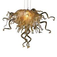 Люстра взорванные стекла в золоте или прозрачном из муранского стекла стекло стекло светодиодные светодиодные луковицы дешевые подвесные огни для украшения дома-л