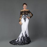 흰색과 검은 색 인어 이브닝 드레스 2020 새로운 뜨거운 판매 사용자 정의 새해 오프 - 더 - 어깨 긴 소매 레이스 정장 댄스 파티 파티 드레스 E024
