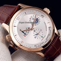 Новый Master Control World Geographic Q1502420 Q1528420 Белый циферблат Автоматические мужские часы Moon Phase Power Reserve Кожаный ремешок из розового золота.