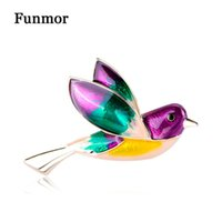 wholesale Colorful Enamel Flying Bird Shape Brooches Gold Co...