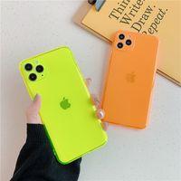 Симпатичный Неон Fluorescent Solid Color Phone Case для iPhone 7 8 Plus 11 Pro X XS MAX XR 2020 Прекрасных конфеты Мягкой обложки Очистить
