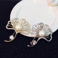 foglie popolare coreana delicata femminile perla temperamento spilla di alta qualità diamante sciarpa fibbia semplice modo 18k oro placcato spilla