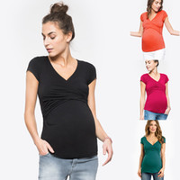 Maternity clothing Breastfeeding Nursing Tops T- shirt Cross ...