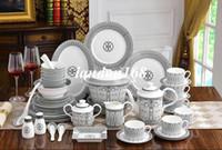 Cerâmica Dinnerware Define porcelana tigela Dish Bacia de sopa Bone china café conjuntos de talheres ocidentais linha preta dom conjuntos
