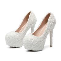 На складе белые кружевные цветы свадебные свадебные туфли плюс размер платформы свадебные сандалии обувь чистый цвет простой пром партия женская обувь