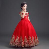 Resmi Kat Uzunluk Çiçek Kız Elbise Kız Uzun Prenses Brithday Aplike Balo Çocuklar Elbiseler