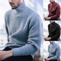 Winter Mens Pullover Sweaters Casual Turtle Neck Warm Tops H...