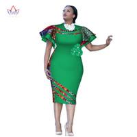 사용자 지정 아프리카 인쇄 ClothingRuffle 슬리브 무릎 드레스 여름 여성 파티 드레스 플러스 사이즈 아프리카 의류 6XL BRW WY2409