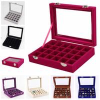 Anel Jóias 24 grade de veludo de vidro Mostrar Titular Organizer Box Bandeja Brincos armazenamento caso Showcase exibição Armazenamento 24 caixas Seção