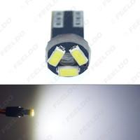 50pcs coche blanco T5 0.5W 6000K 3SMD 1210/3528 CANBUS de error de luz libre LED Bombilla 12V CC # 1151