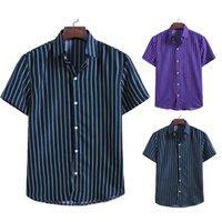 أزياء رجالية مخطط مطبوعة الصيف قصيرة الأكمام قميص مريح هومبر 2020 زر هاواي صالح سليم قمصان Camisas