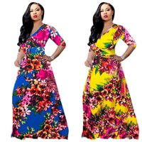 Floral Print Summer Long Maxi Dress 2019 Women Deep V Neck H...
