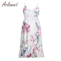ARLONEET Clothes Women Maternity Dress Flower Ruffles Dress Breastfeeding Summer Ladies Pregnancy Casual Clothes