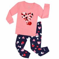 100 хлопчатобумажные пижамы детские приборы сердца Pajama Pajamas детей для 2-7 лет детская пижама детская ночная одежда Pijamas
