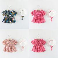 Çocuklar Bebek Kız Kısa Kollu Elbise Çiçek Flared Alayı Giysileri + Şapka Set