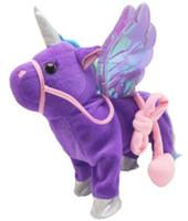 Schöner Einhorn Seil pegasus Puppe Fuß singt elektrische Drachen Plüschtier Kinder-Geschenke Geburtstag Unisex Geschenk