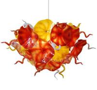 현대 꽃 플레이트 샹들리에 조명 오렌지 노란색 디자인 손 불어 유리 체인 LED 조명기구의 샹들리에