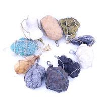الحجر الطبيعي سلك التفاف قلادة LGMJY-005