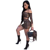 Fashion-дизайнер Two-Piece Set Роскошный Геометрический узор Обрезанные Top + Юбки Sexy Двухкусочный платья Street Style Женская одежда 2 цвета Горячие