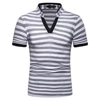 Mens Striped Polos Shirts Short Sleeve Polo T- shirt Summer T...