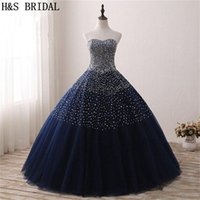 2018 Navy Ball Gown Prom Dresses Cheap Beading Quinceanera Dress Mujer Vestidos de noche formales Nueva llegada