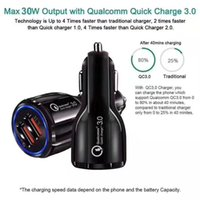 QC3.0 Dual USB fast charge Adapter For Samsung Huawei 6A Qualcomm Quick Charge car charger phone charger with opp package