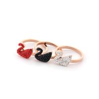 Bague à diamant Swan Bague en or rose Fashion Lady Boutique Bijoux Cadeau de vacances Bague de fiançailles Bague Solitaire