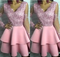 2019 Pink Cocktail Dresses Sheer Appliques Long Sleeves V- ne...