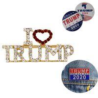 أنا أحب ترامب 2020 دبابيس الكريستال للنساء الرجال كيد مجموعة المينا المعادن التلبيب شارة بروش دبابيس الأزياء والمجوهرات اكسسوارات