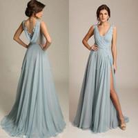 New Staubige blaue Chiffon Prom-Partei-Kleid mit V-Ausschnitt Appliques Draped Zurück Hohe Split reizvolle formale Abendkleider Günstige