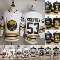Buffalo Sabres 9 Jack Eichel Jersey Hockey 26 Rasmus Dahlin 53 Jeff Skinner 55 Rasmus Ristolainen Reinhart Okposo Azul Branco Homens Mulheres Crianças