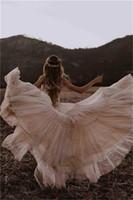 Desnudos Champagne Boho A línea vestidos de boda 2020 del V-cuello de encaje apliques sin respaldo vestidos de novia Vestido de playa Vestidos de novia Noiva