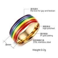 Europe man rainbow gold ring fashion titanium steel ring EU size 7 to 12