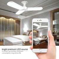 45W E27 Süper parlak LED Tavan Kolye Işıklar Fanlar Katlanır Fan Blade Lambası Ev Şekle