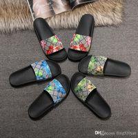 Hombres Mujeres Zapatillas de cuero de PVC zapatos de diseñador de impresión de serpiente de lujo de diapositivas de verano de moda sandalias de baño plana alfabética zapatillas de playa tamaño 35-46