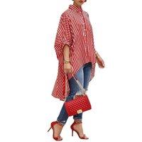 Плюс Размер Рубашки Негабаритных Женщин С Длинным Верхом 2019 Мода Полосатый Половина Рукава Блузки Асимметричный Подол Свободные Топы Женские Офисные Рубашки Y19062501