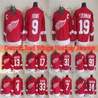 Detroit Red Wings Hóquei Jersey 14 Shanahan 24Chelios 19 Steve Yzerman 9 Gordie Howe Versão Vintage Vintage Jersey