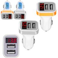 شاشة LED الرقمية 2.1A Dual USB شاحن سيارة محول الطاقة ل iPhone Samsung HTC Android Phone GPS PC