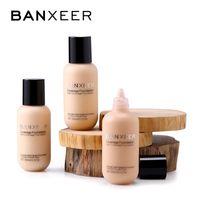 BANXEER Fondation Matte Long Lasting pleine Concealer Foundation Fond de teint liquide Crème de base naturelle Make Up