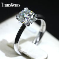 Transgems 18k 750 White Gold 2ct 7mm*8mm F Color Cushion Cut...