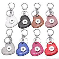 Cuero de la PU del corazón NOOSA Snap Button llavero Fit 18mm Snap Button Trozos Llavero de los pares clave Cadenas joyería del anillo de regalo de los accesorios
