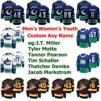 Vancouver Canucks jerseys para mujer de J. T. Miller Jersey Tyler Motte Tanner Pearson Tim Schaller Brandon Sutter hockey jerseys cosido personalizada