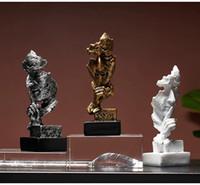 Ev Dekorasyon HD22 için Özet Düşünür insanlar At Başlığı Şekli 2pcs / set Modern Heykel Heykeli Süsleme Sanatları