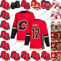 2019 Calgary Flames Red Vintage Jersey # 2 Al MacInnis 9 Lanny McDonald 12 Jarome Iginla 30 Mike Vernon 39 Doug Gilmour Blanc retraité