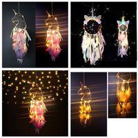 LED Wind Chimes Unicórnio Handmade Dreamcatcher Pena Pingente Sonho Catcher Creative Hanging Craft Desejo Decoração Home