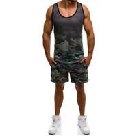 Homens camisetas Homens Tracksuit Sem mangas Vest Shorts Jogging Camuflagem Verão Casual 2 Peça Curto Conjunto Urbano Wind Track Suits